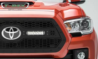 """T-REX Grilles - 2018-2021 Tacoma Stealth Laser Torch Grille, Black, 1 Pc, Insert, Black Studs with (2) 6"""" LEDs, Does Not Fit Vehicles with Camera - PN #7319511-BR - Image 2"""