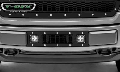T-REX Grilles - 2018-2020 F-150 Limited, Lariat Laser Torch Bumper Grille, Black, 1 Pc, Overlay, Chrome Studs with (2) 3 Inch LED Cube Lights - PN #7325711 - Image 3