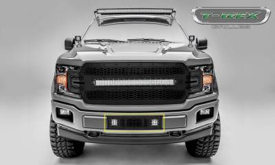 T-REX Grilles - 2018-2020 F-150 Limited, Lariat Stealth Laser Torch Bumper Grille, Black, 1 Pc, Overlay, Black Studs with (2) 3 Inch LED Cube Lights - PN #7325711-BR - Image 3