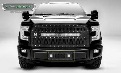 """T-REX Grilles - 2015-2017 F-150 Laser Torch Bumper Grille, Black, 1 Pc, Insert, Chrome Studs with (2) 3"""" LED Cube Lights - PN #7325731 - Image 1"""