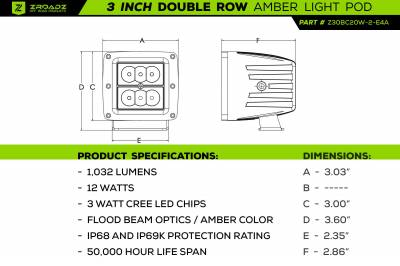 ZROADZ OFF ROAD PRODUCTS - 3 Inch AMBER LED Flood Beam Pod Light - PN #Z30BC20W-2-E4A - Image 8