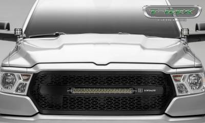 "T-REX Grilles - 2019-2021 Ram 1500 Laramie, Lone Star, Big Horn, Tradesman ZROADZ Grille, Black, 1 Pc, Replacement with (1) 20"" LED, Does Not Fit Vehicles with Camera - PN #Z314651 - Image 2"