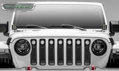 T-REX Grilles - Jeep Gladiator, JL ZROADZ Grille, Black, 1 Pc, Insert with (7) 2 Inch LED Round Lights, Does Not Fit Vehicles with Camera - PN #Z314931 - Image 5