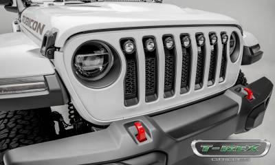 T-REX Grilles - Jeep Gladiator, JL ZROADZ Grille, Black, 1 Pc, Insert with (7) 2 Inch LED Round Lights, Does Not Fit Vehicles with Camera - PN #Z314931 - Image 6