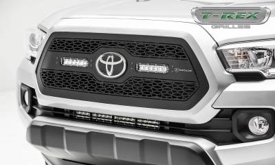"T-REX Grilles - 2018-2021 Tacoma ZROADZ Grille, Black, 1 Pc, Insert with (2) 6"" LEDs, Does Not Fit Vehicles with Camera - PN #Z319511 - Image 1"