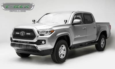 "T-REX Grilles - 2018-2021 Tacoma ZROADZ Grille, Black, 1 Pc, Insert with (2) 6"" LEDs, Does Not Fit Vehicles with Camera - PN #Z319511 - Image 2"