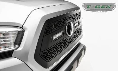 "T-REX Grilles - 2018-2021 Tacoma ZROADZ Grille, Black, 1 Pc, Insert with (2) 6"" LEDs, Does Not Fit Vehicles with Camera - PN #Z319511 - Image 6"