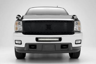 2011-2013 Chevrolet Silverado 2500, 3500 Front Bumper Center LED Kit with (1) 20 Inch LED Straight Double Row Light Bar - PN #Z321151-KIT - Image 1
