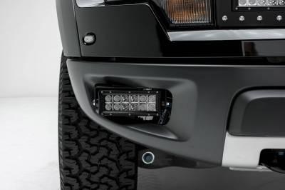 ZROADZ - 2010-2014 Ford F-150 Raptor Front Bumper OEM Fog LED Kit with (2) 6 Inch LED Straight Double Row Light Bars - PN #Z325651-KIT - Image 1