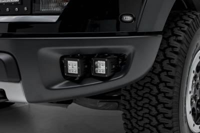 ZROADZ OFF ROAD PRODUCTS - 2010-2014 Ford F-150 Raptor Front Bumper OEM Fog LED Kit with (4) 3 Inch LED Pod Lights - PN #Z325671-KIT - Image 1
