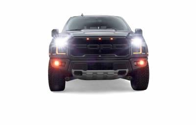 2017-2021 Ford F-150 Raptor Front Bumper OEM Fog Amber LED Kit with (2) 3 Inch Amber LED Pod Lights and (4) 3 Inch LED Pod Lights- PN #Z325672-KIT - Image 6