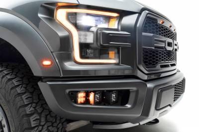 2017-2021 Ford F-150 Raptor Front Bumper OEM Fog Amber LED Kit with (2) 3 Inch Amber LED Pod Lights and (4) 3 Inch LED Pod Lights- PN #Z325672-KIT - Image 12