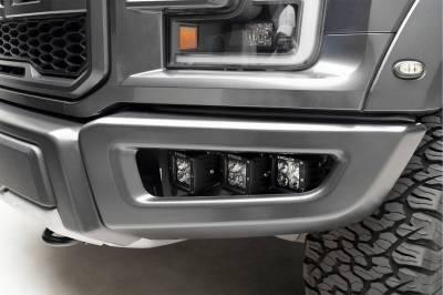 2017-2021 Ford F-150 Raptor Front Bumper OEM Fog Amber LED Kit with (2) 3 Inch Amber LED Pod Lights and (4) 3 Inch LED Pod Lights- PN #Z325672-KIT - Image 13