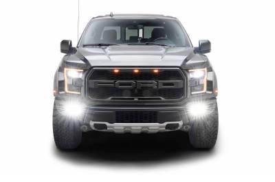 2017-2021 Ford F-150 Raptor Front Bumper OEM Fog Amber LED Kit with (2) 3 Inch Amber LED Pod Lights and (4) 3 Inch LED Pod Lights- PN #Z325672-KIT - Image 15
