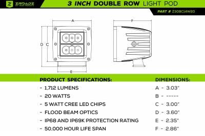 ZROADZ OFF ROAD PRODUCTS - 2016-2021 Toyota Tacoma Hood Hinge LED Kit with (2) 3 Inch LED Pod Lights - PN #Z369401-KIT2 - Image 7