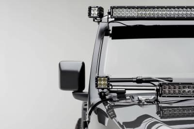 ZROADZ - Jeep JL, Gladiator Front Roof LED Bracket to mount (1) 50 or 52 Inch Straight LED Light Bar and (2) 3 Inch LED Pod Lights - PN #Z374831-BK2 - Image 1