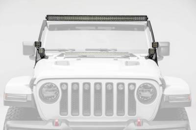 ZROADZ - Jeep JL, Gladiator Front Roof LED Bracket to mount (1) 50 or 52 Inch Straight LED Light Bar and (4) 3 Inch LED Pod Lights - PN #Z374831-BK4 - Image 2