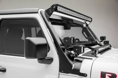 ZROADZ - Jeep JL, Gladiator Front Roof LED Bracket to mount (1) 50 or 52 Inch Straight LED Light Bar and (4) 3 Inch LED Pod Lights - PN #Z374831-BK4 - Image 6