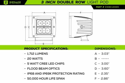 ZROADZ - Jeep JL, Gladiator Front Roof LED Kit with (1) 50 Inch LED Straight Double Row Light Bar and (2) 3 Inch LED Pod Lights - PN #Z374831-KIT2 - Image 6