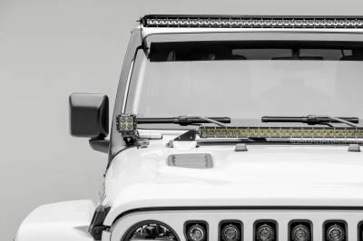 ZROADZ - Jeep JL, Gladiator Front Roof LED Kit with (1) 50 Inch LED Straight Single Row Slim Light Bar and (2) 3 Inch LED Pod Lights - PN #Z374831-KIT2S - Image 1