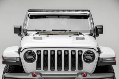 ZROADZ - Jeep JL, Gladiator Front Roof LED Kit with (1) 50 Inch LED Straight Single Row Slim Light Bar and (2) 3 Inch LED Pod Lights - PN #Z374831-KIT2S - Image 2