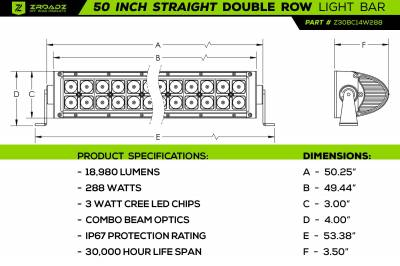 ZROADZ OFF ROAD PRODUCTS - Jeep JL, Gladiator Front Roof LED Kit with (1) 50 Inch LED Straight Double Row Light Bar and (4) 3 Inch LED Pod Lights - PN #Z374831-KIT4 - Image 14