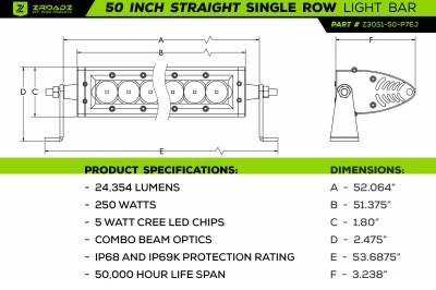 ZROADZ - Jeep JL, Gladiator Front Roof LED Kit with (1) 50 Inch LED Straight Single Row Slim Light Bar - PN #Z374831-KITS - Image 3