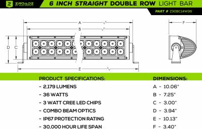 ZROADZ OFF ROAD PRODUCTS - 2016-2021 Toyota Tacoma Rear Bumper LED Kit with (2) 6 Inch LED Straight Double Row Light Bars - PN #Z389401-KIT - Image 12