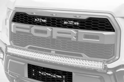 ZROADZ - 2017-2021 Ford F-150 Raptor OEM Grille LED Kit with (2) 6 Inch LED Straight Single Row Slim Light Bars - PN #Z415651-KIT - Image 1