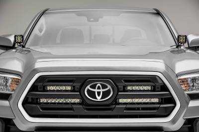 ZROADZ - 2018-2019 Toyota Tacoma OEM Grille LED Kit with (2) 6 Inch LED Straight Single Row Slim Light Bars - PN #Z419511-KIT - Image 3