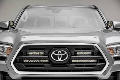 ZROADZ - 2018-2019 Toyota Tacoma OEM Grille LED Kit with (2) 6 Inch and (2) 10 Inch LED Straight Single Row Slim Light Bars - PN #Z419711-KIT - Image 2