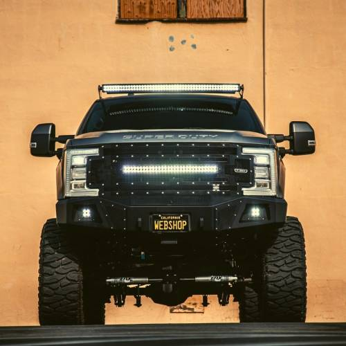 """T-REX Grilles - 2017-2019 Super Duty Torch Grille, Black, 1 Pc, Replacement, Chrome Studs with (1) 30"""" LED, Fits Vehicles with Camera - PN #6315371 - Image 6"""