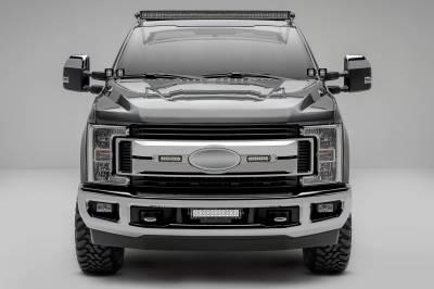 ZROADZ - 2017-2019 Ford Super Duty XLT, XL STX OEM Grille LED Kit with (2) 6 Inch LED Straight Single Row Slim Light Bars, Brushed - PN #Z415573-KIT - Image 1