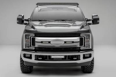 ZROADZ OFF ROAD PRODUCTS - 2017-2019 Ford Super Duty XLT, XL STX OEM Grille LED Kit with (2) 6 Inch LED Straight Single Row Slim Light Bars, Black - PN #Z415571-KIT - Image 1
