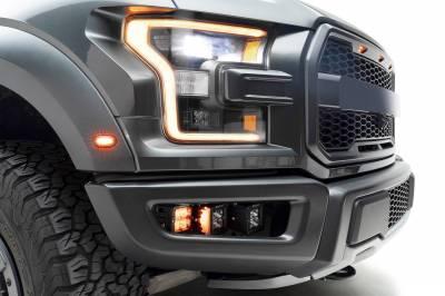 2017-2021 Ford F-150 Raptor Front Bumper OEM Fog Amber LED Kit with (2) 3 Inch Amber LED Pod Lights and (4) 3 Inch LED Pod Lights- PN #Z325672-KIT - Image 2