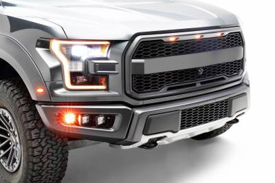 2017-2021 Ford F-150 Raptor Front Bumper OEM Fog Amber LED Kit with (2) 3 Inch Amber LED Pod Lights and (4) 3 Inch LED Pod Lights- PN #Z325672-KIT - Image 7