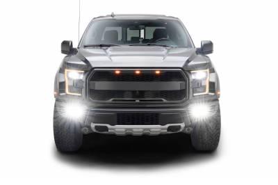 2017-2021 Ford F-150 Raptor Front Bumper OEM Fog Amber LED Kit with (2) 3 Inch Amber LED Pod Lights and (4) 3 Inch LED Pod Lights- PN #Z325672-KIT - Image 14
