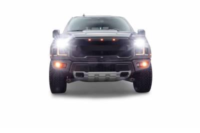 2017-2021 Ford F-150 Raptor Front Bumper OEM Fog Amber LED Kit with (2) 3 Inch Amber LED Pod Lights and (4) 3 Inch LED Pod Lights- PN #Z325672-KIT - Image 18