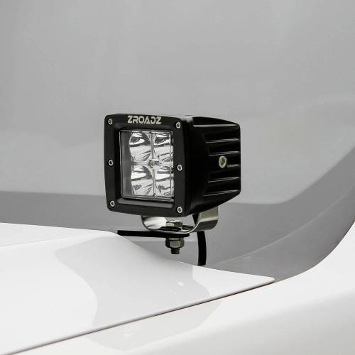ZROADZ OFF ROAD PRODUCTS - 2008-2010 Ford Super Duty Hood Hinge LED Bracket to mount (2) 3 Inch LED Pod Lights - PN #Z365631 - Image 1