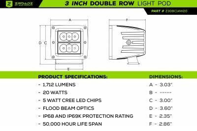 ZROADZ - 2016-2021 Toyota Tacoma Overland Access Rack With Side Gates with (4) 3 Inch ZROADZ LED Pod Lights - PN #Z839101 - Image 23