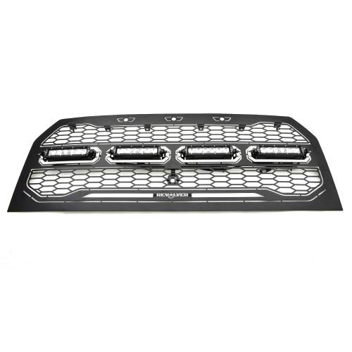 """T-REX Grilles - 2015-2017 F-150 Revolver Grille, Black, 1 Pc, Replacement with (4) 6"""" LEDs, Fits Vehicles with Camera - PN #6515741 - Image 3"""