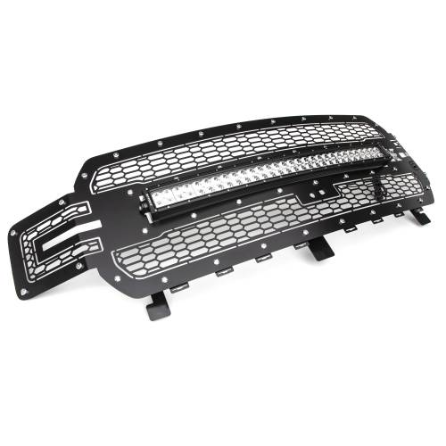 T-REX Grilles - 2018-2020 F-150 Laser Torch Grille, Black, 1 Pc, Replacement, Chrome Studs with 30 Inch LED, Fits Vehicles with Camera - PN #7315751 - Image 6