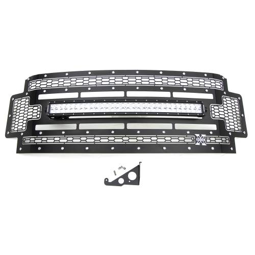"""T-REX Grilles - 2017-2019 Super Duty Laser Torch Grille, Black, 1 Pc, Replacement, Chrome Studs with (1) 30"""" LED, Does Not Fit Vehicles with Camera - PN #7315471 - Image 2"""