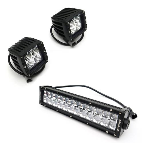 """T-REX Grilles - 2013-2014 F-150 Torch Grille, Black, 1 Pc, Insert, Chrome Studs with (2) 3"""" LED Cubes and (1) 12"""" LEDs - PN #6315721 - Image 4"""