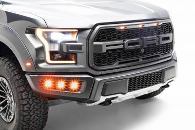 ZROADZ OFF ROAD PRODUCTS - 2017-2020 Ford F-150 Raptor Front Bumper OEM Fog Amber LED Kit with (6) 3 Inch Amber LED Pod Lights - PN #Z325673-KIT - Image 1